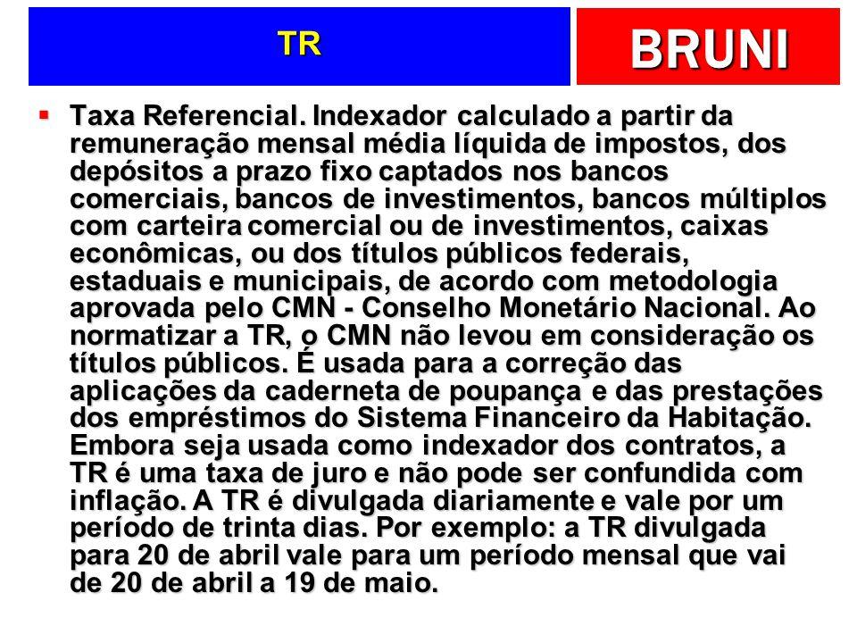 BRUNI TR Taxa Referencial. Indexador calculado a partir da remuneração mensal média líquida de impostos, dos depósitos a prazo fixo captados nos banco