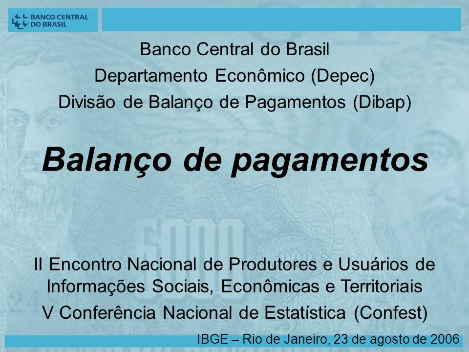Balanço de pagamentos II Encontro Nacional de Produtores e Usuários de Informações Sociais, Econômicas e Territoriais V Conferência Nacional de Estatística (Confest) Banco Central do Brasil Departamento Econômico (Depec) Divisão de Balanço de Pagamentos (Dibap) IBGE – Rio de Janeiro, 23 de agosto de 2006