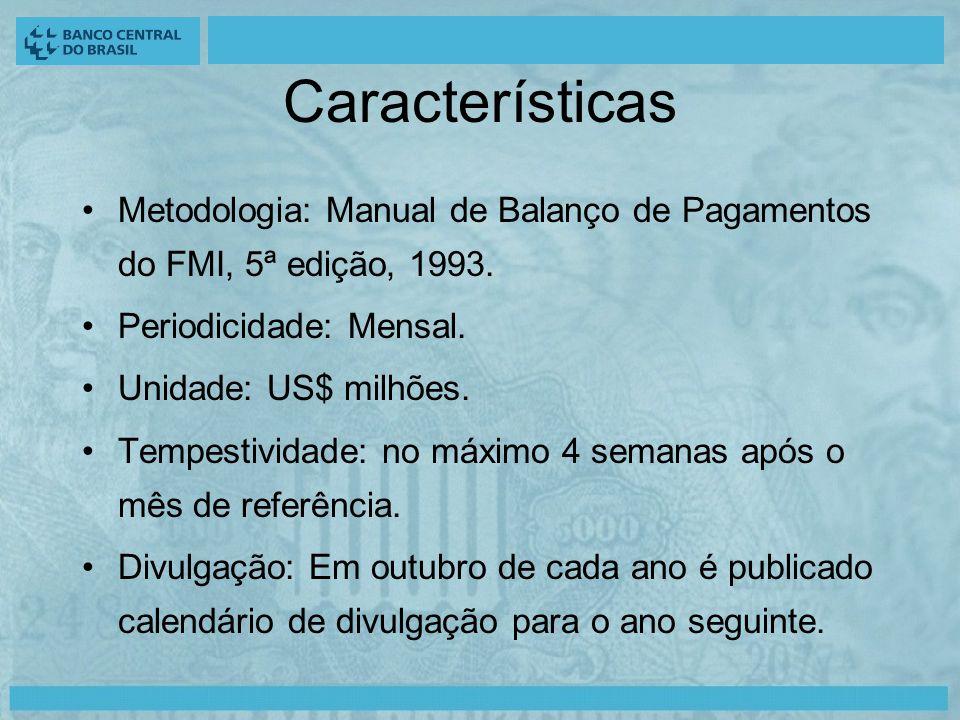 Características Metodologia: Manual de Balanço de Pagamentos do FMI, 5ª edição, 1993.