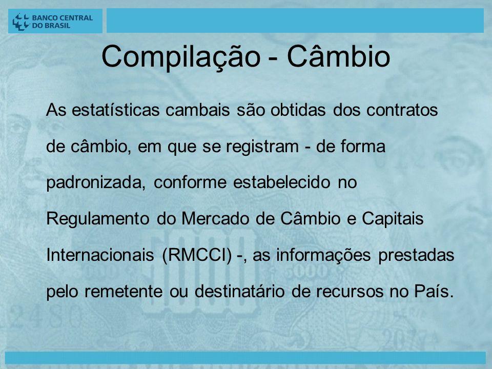 Compilação - Câmbio As estatísticas cambais são obtidas dos contratos de câmbio, em que se registram - de forma padronizada, conforme estabelecido no Regulamento do Mercado de Câmbio e Capitais Internacionais (RMCCI) -, as informações prestadas pelo remetente ou destinatário de recursos no País.