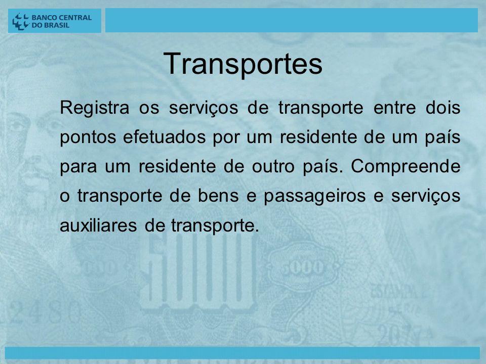 Transportes Registra os serviços de transporte entre dois pontos efetuados por um residente de um país para um residente de outro país.