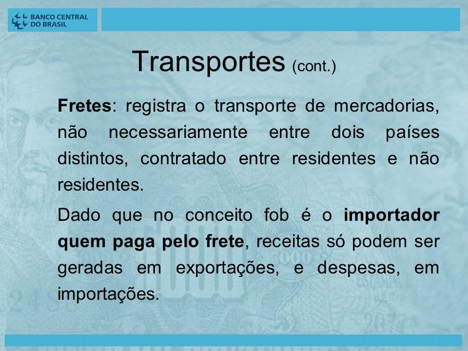 Transportes (cont.) Fretes: registra o transporte de mercadorias, não necessariamente entre dois países distintos, contratado entre residentes e não residentes.