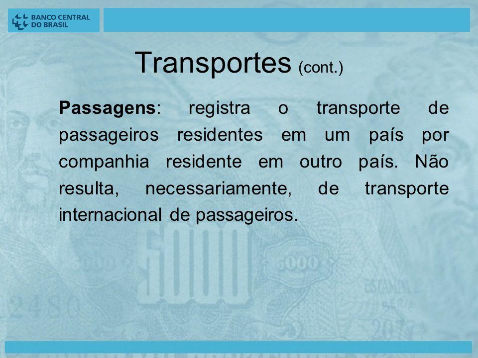 Transportes (cont.) Passagens: registra o transporte de passageiros residentes em um país por companhia residente em outro país.