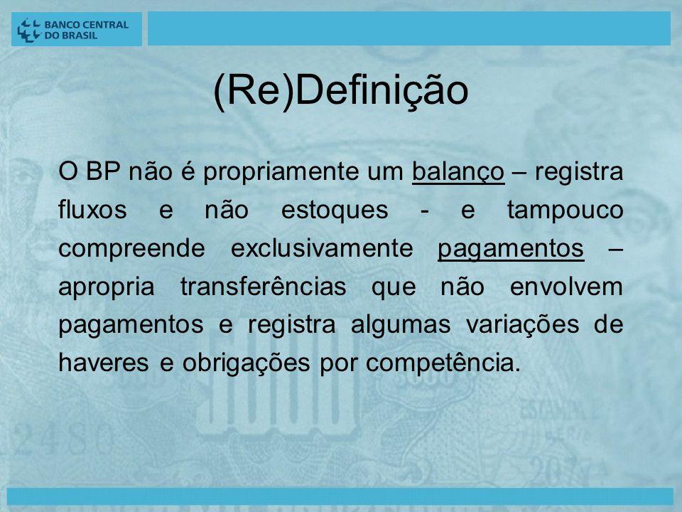 (Re)Definição O BP não é propriamente um balanço – registra fluxos e não estoques - e tampouco compreende exclusivamente pagamentos – apropria transferências que não envolvem pagamentos e registra algumas variações de haveres e obrigações por competência.
