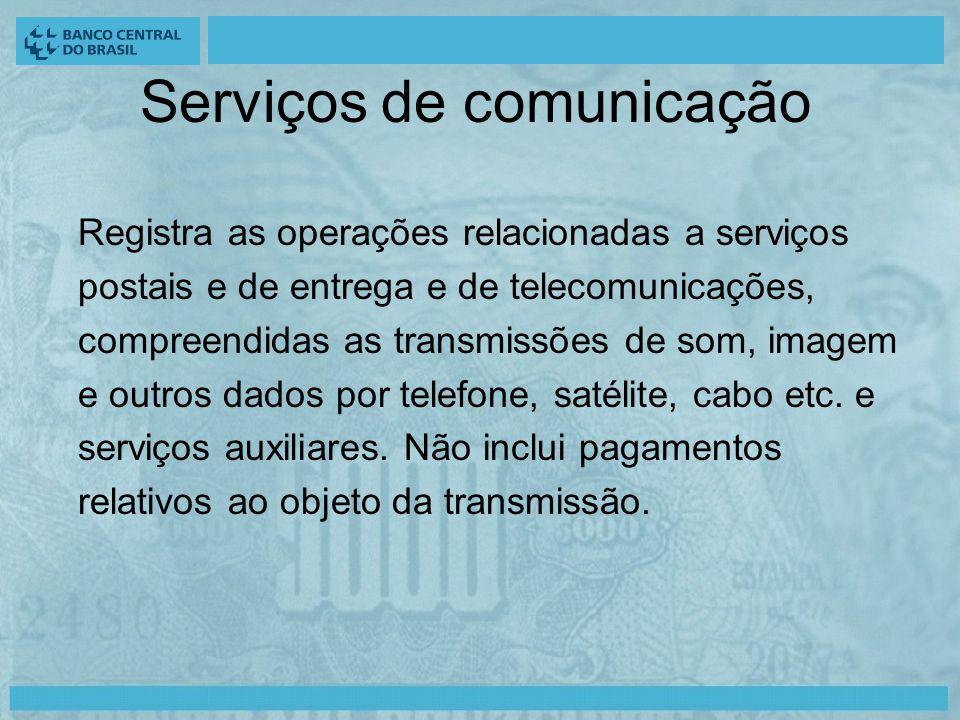 Serviços de comunicação Registra as operações relacionadas a serviços postais e de entrega e de telecomunicações, compreendidas as transmissões de som, imagem e outros dados por telefone, satélite, cabo etc.
