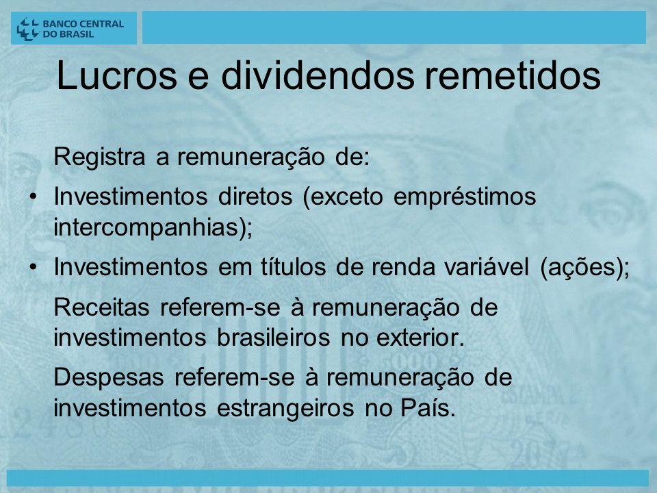Lucros e dividendos remetidos Registra a remuneração de: Investimentos diretos (exceto empréstimos intercompanhias); Investimentos em títulos de renda variável (ações); Receitas referem-se à remuneração de investimentos brasileiros no exterior.