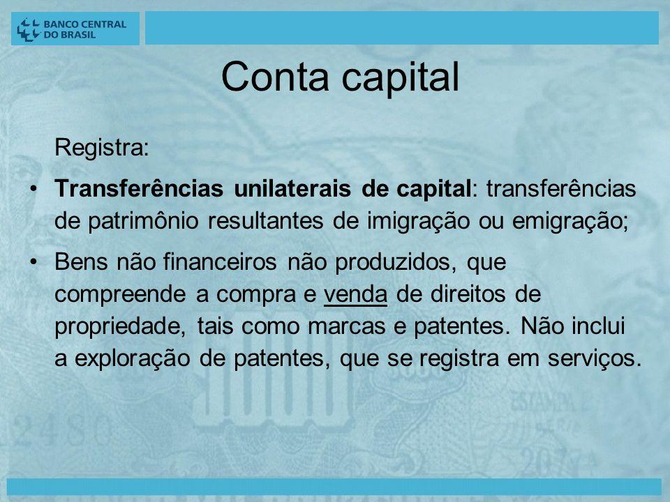 Conta capital Registra: Transferências unilaterais de capital: transferências de patrimônio resultantes de imigração ou emigração; Bens não financeiros não produzidos, que compreende a compra e venda de direitos de propriedade, tais como marcas e patentes.