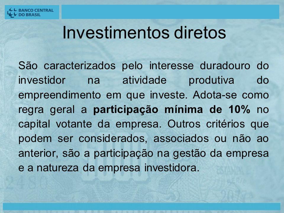 Investimentos diretos São caracterizados pelo interesse duradouro do investidor na atividade produtiva do empreendimento em que investe.