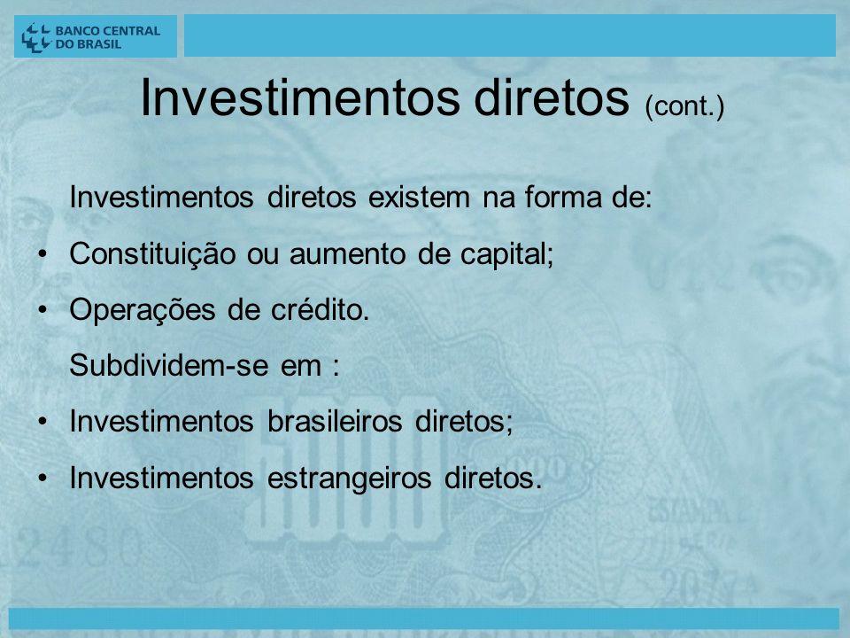 Investimentos diretos (cont.) Investimentos diretos existem na forma de: Constituição ou aumento de capital; Operações de crédito.