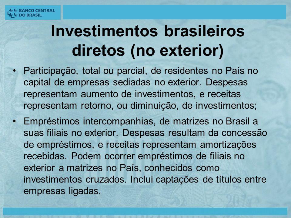 Investimentos brasileiros diretos (no exterior) Participação, total ou parcial, de residentes no País no capital de empresas sediadas no exterior.