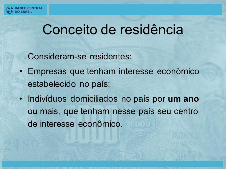 Conceito de residência Consideram-se residentes: Empresas que tenham interesse econômico estabelecido no país; Indivíduos domiciliados no país por um ano ou mais, que tenham nesse país seu centro de interesse econômico.
