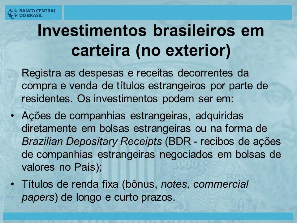 Investimentos brasileiros em carteira (no exterior) Registra as despesas e receitas decorrentes da compra e venda de títulos estrangeiros por parte de residentes.