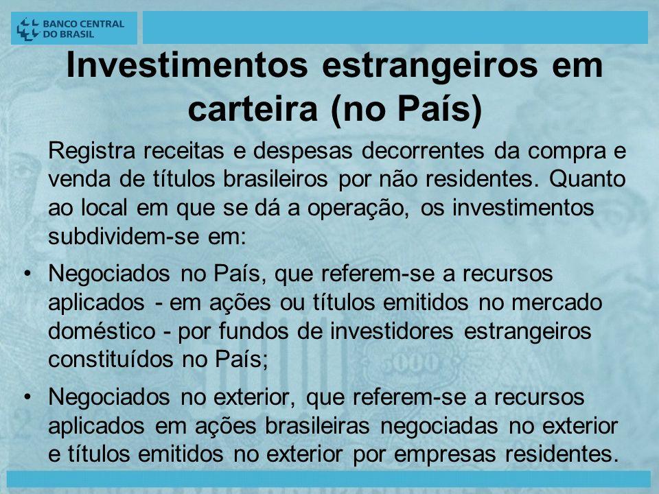 Investimentos estrangeiros em carteira (no País) Registra receitas e despesas decorrentes da compra e venda de títulos brasileiros por não residentes.