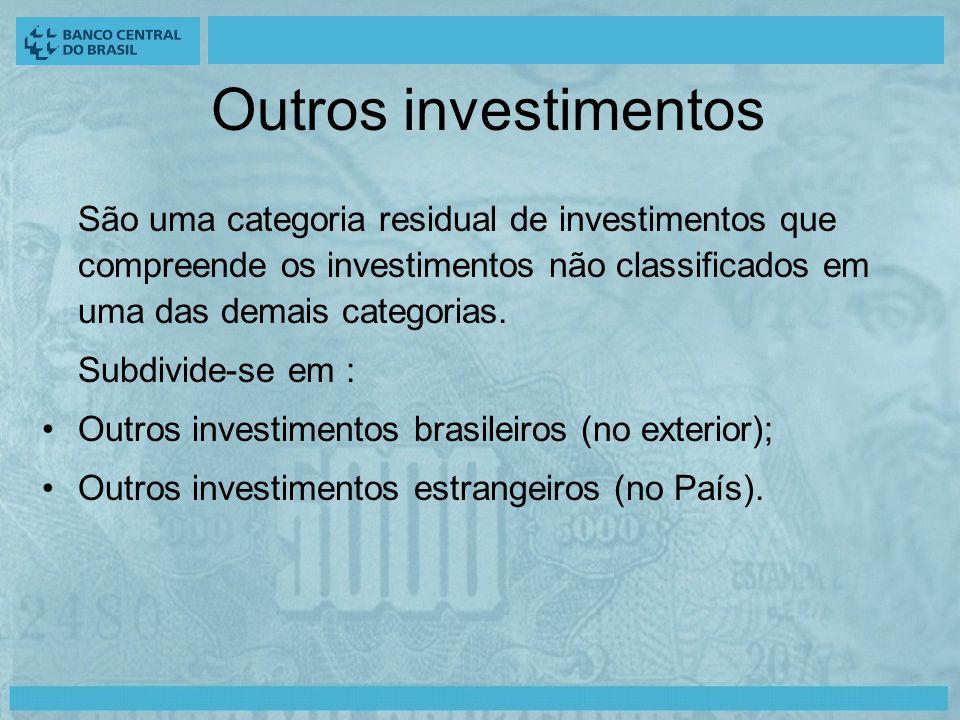 Outros investimentos São uma categoria residual de investimentos que compreende os investimentos não classificados em uma das demais categorias.