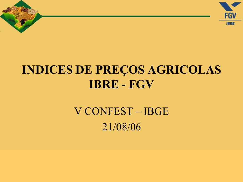 A Fundação Getulio Vargas realiza, nacionalmente, quatro tipos de levantamentos de preços no âmbito do setor agropecuário: Preços Recebidos pelos Produtores Rurais (mensal); Preços Pagos pelos Produtores Rurais (mensal); Indicador de Preço do Milho (diária); Preços de Terras, Salários e Serviços (semestral); O QUE SÃO
