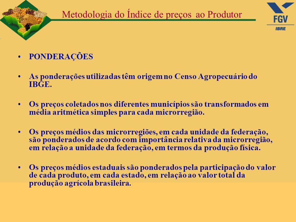 Metodologia do Índice de preços ao Produtor PONDERAÇÕESPONDERAÇÕES As ponderações utilizadas têm origem no Censo Agropecuário do IBGE. Os preços colet