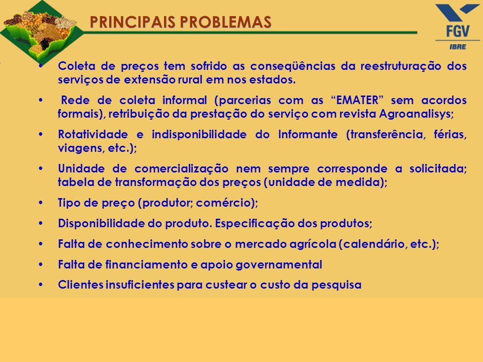 PRINCIPAIS PROBLEMAS Coleta de preços tem sofrido as conseqüências da reestruturação dos serviços de extensão rural em nos estados. Rede de coleta inf