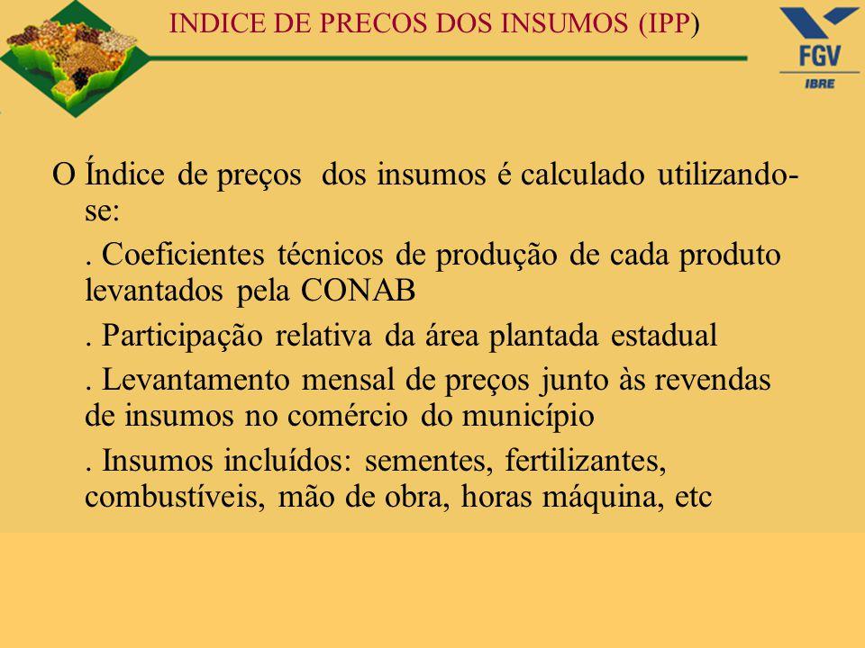 INDICE DE PRECOS DOS INSUMOS (IPP) O Índice de preços dos insumos é calculado utilizando- se:. Coeficientes técnicos de produção de cada produto levan