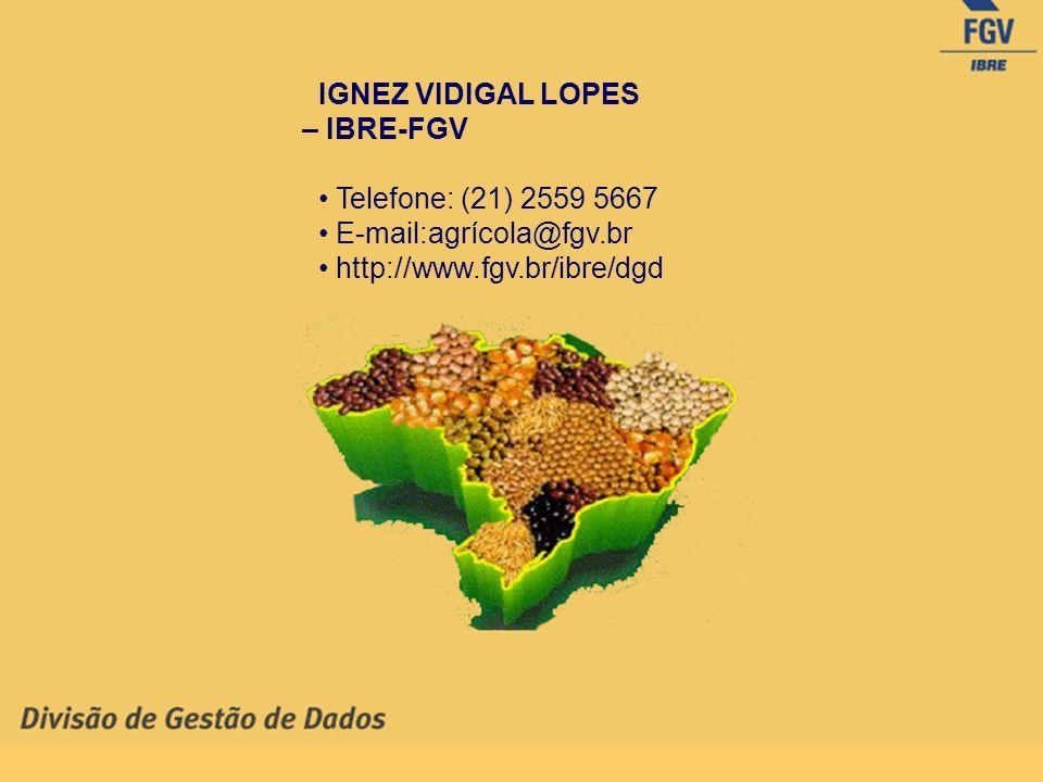 IGNEZ VIDIGAL LOPES – IBRE-FGV Telefone: (21) 2559 5667 E-mail:agrícola@fgv.br http://www.fgv.br/ibre/dgd