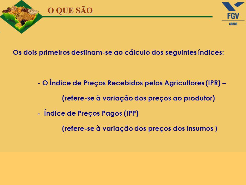 Os dois primeiros destinam-se ao cálculo dos seguintes índices: - O Índice de Preços Recebidos pelos Agricultores (IPR) – (refere-se à variação dos pr