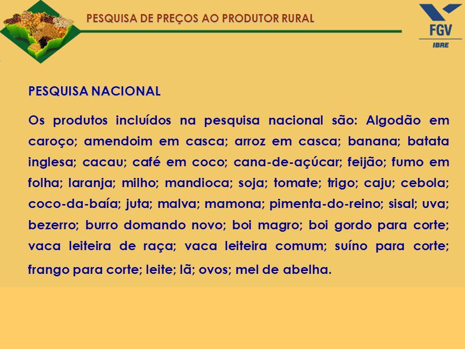 PESQUISA NACIONAL Os produtos incluídos na pesquisa nacional são: Algodão em caroço; amendoim em casca; arroz em casca; banana; batata inglesa; cacau;