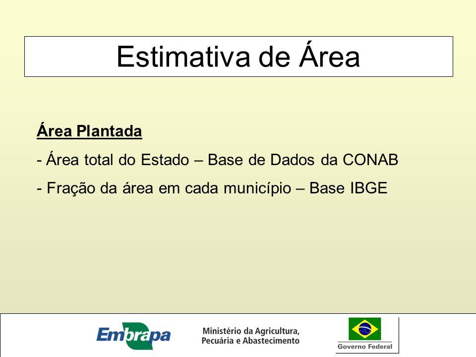 Estimativa de Área Área Plantada - Área total do Estado – Base de Dados da CONAB - Fração da área em cada município – Base IBGE