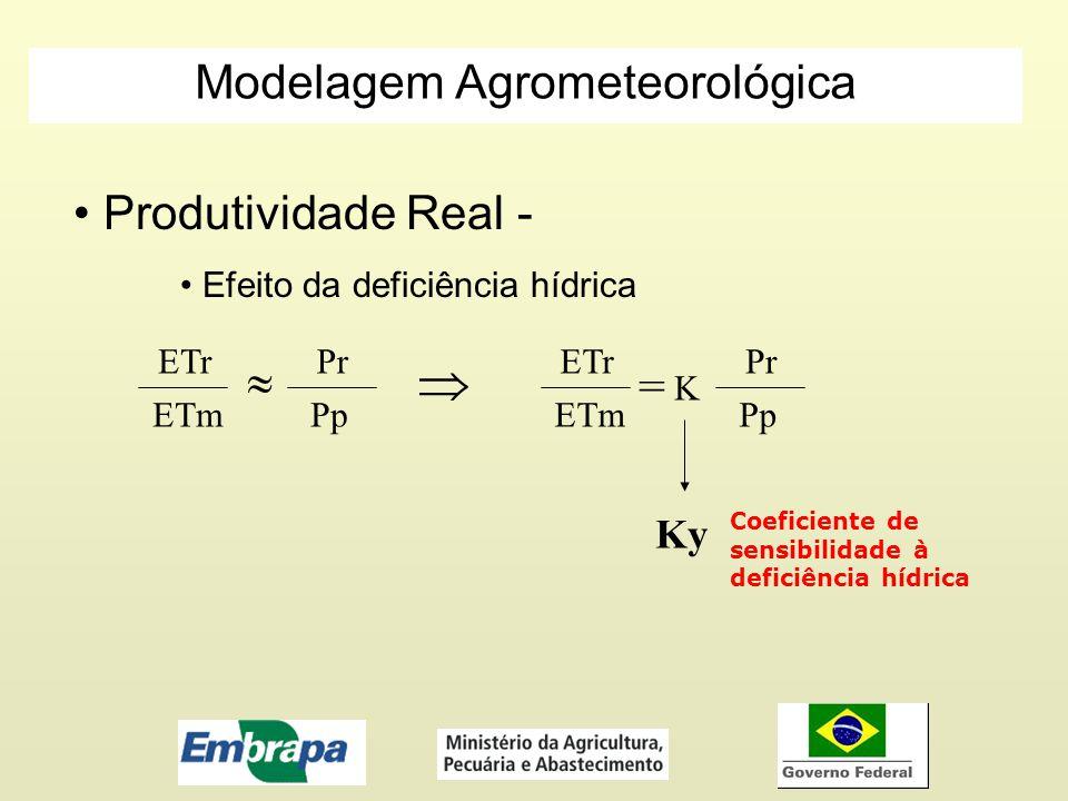 Produtividade Real - Efeito da deficiência hídrica ETr ETm Pr Pp ETr ETm = Pr Pp K Ky Coeficiente de sensibilidade à deficiência hídrica