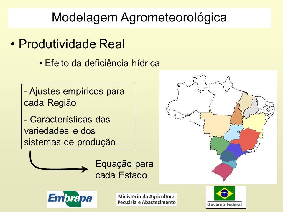 Modelagem Agrometeorológica Produtividade Real Efeito da deficiência hídrica - Ajustes empíricos para cada Região - Características das variedades e d