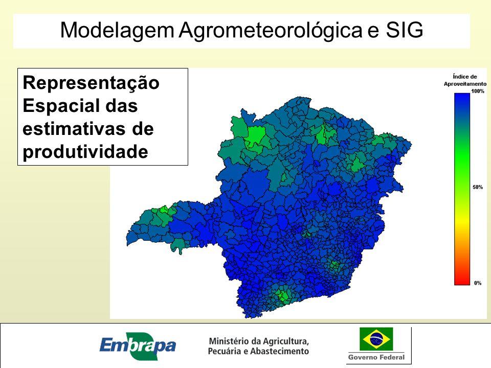 Representação Espacial das estimativas de produtividade Modelagem Agrometeorológica e SIG