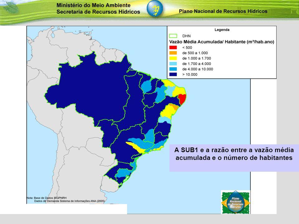 A SUB1 e a razão entre a vazão média acumulada e o número de habitantes