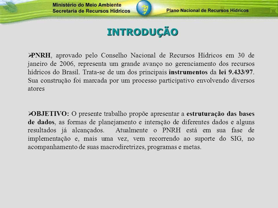 PNRH, aprovado pelo Conselho Nacional de Recursos Hídricos em 30 de janeiro de 2006, representa um grande avanço no gerenciamento dos recursos hídrico