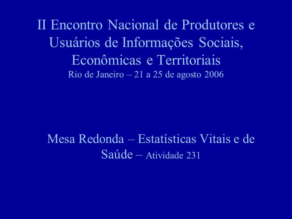 II Encontro Nacional de Produtores e Usuários de Informações Sociais, Econômicas e Territoriais Rio de Janeiro – 21 a 25 de agosto 2006 Mesa Redonda – Estatísticas Vitais e de Saúde – Atividade 231