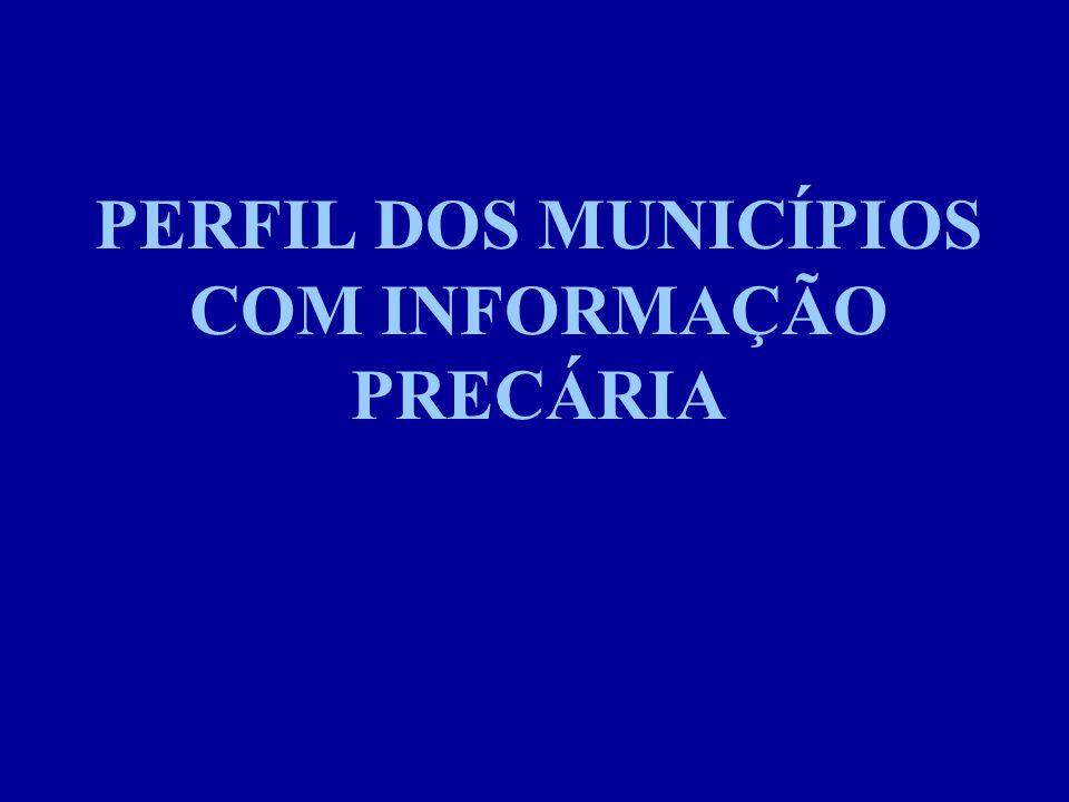 PERFIL DOS MUNICÍPIOS COM INFORMAÇÃO PRECÁRIA
