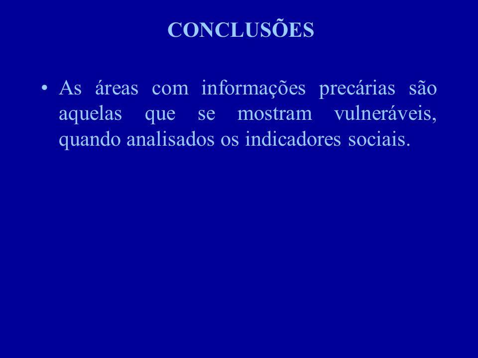 CONCLUSÕES As áreas com informações precárias são aquelas que se mostram vulneráveis, quando analisados os indicadores sociais.