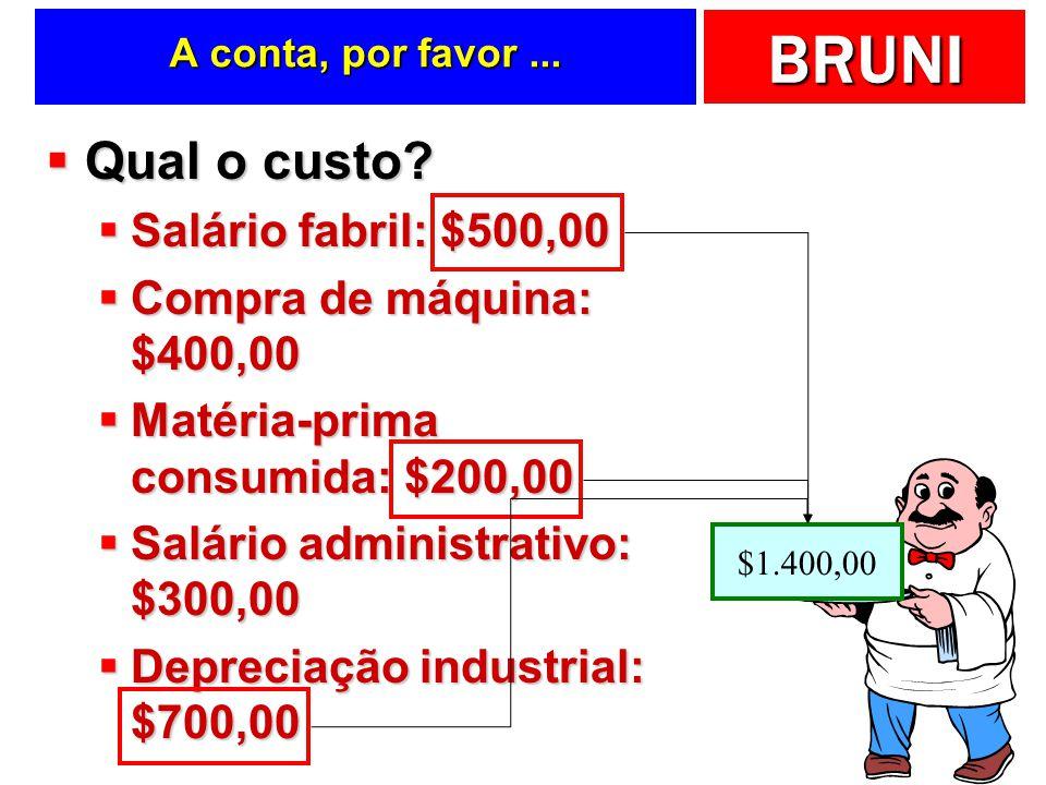 BRUNI 1 2 3 4 5 Gastos, custos e despesas... Gastos Investimentos Produto ou Serviço DespesaCusto Consumo para estoque Consumo no tempo