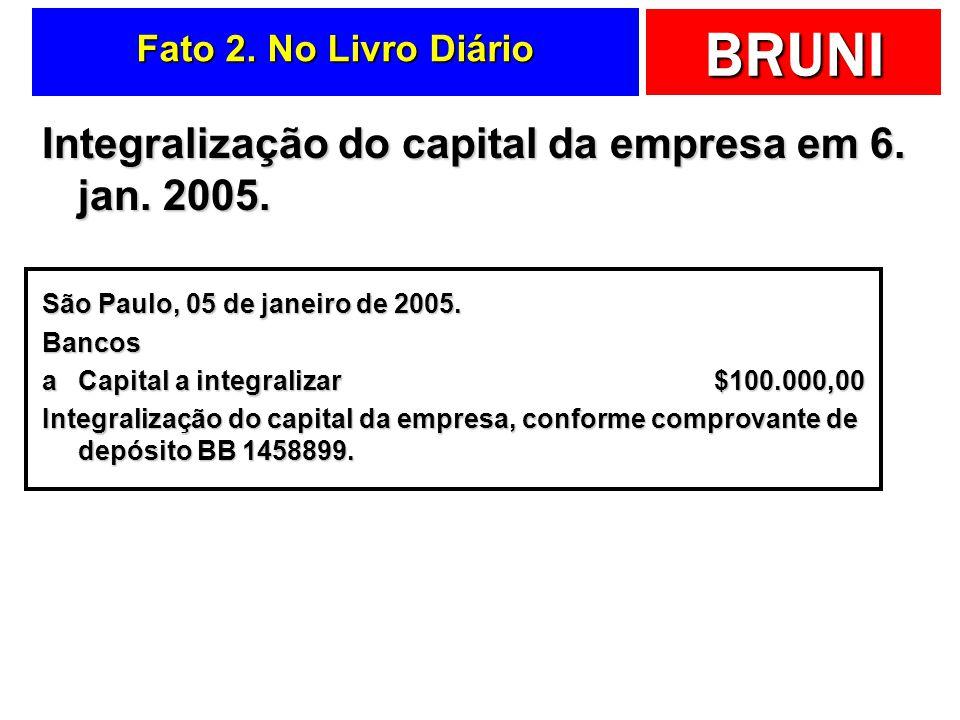 BRUNI Fato 1. No Livro Diário Criação da empresa em 5. jan. 2005 com capital igual a $100.000,00 São Paulo, 05 de janeiro de 2005. Capital a integrali