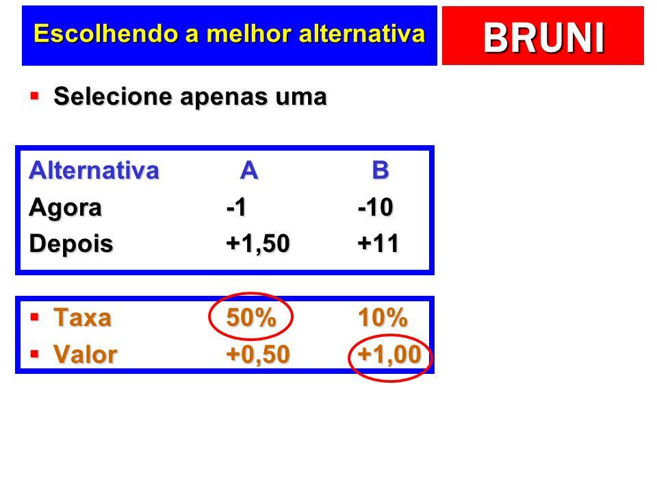 BRUNI Escolhendo a melhor alternativa Selecione apenas uma Selecione apenas uma Alternativa A B Agora-1-10 Depois+1,50+11 Taxa50%10% Taxa50%10% Valor+
