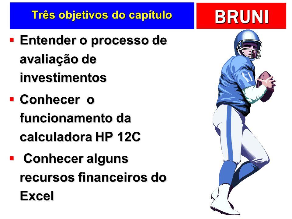 BRUNI Na prática … HP 12C: [f] [IRR] HP 12C: [f] [IRR] Excel: =TIR(Fluxos) Excel: =TIR(Fluxos)