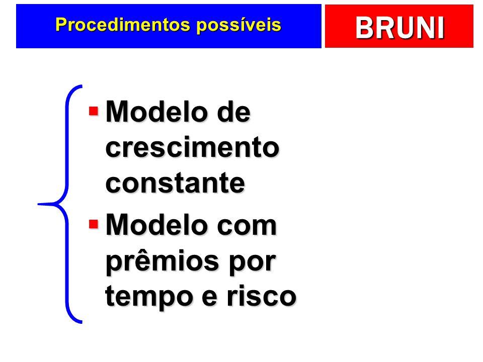 BRUNI Procedimentos possíveis Modelo de crescimento constante Modelo de crescimento constante Modelo com prêmios por tempo e risco Modelo com prêmios