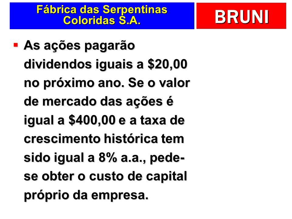 BRUNI Fábrica das Serpentinas Coloridas S.A. As ações pagarão dividendos iguais a $20,00 no próximo ano. Se o valor de mercado das ações é igual a $40