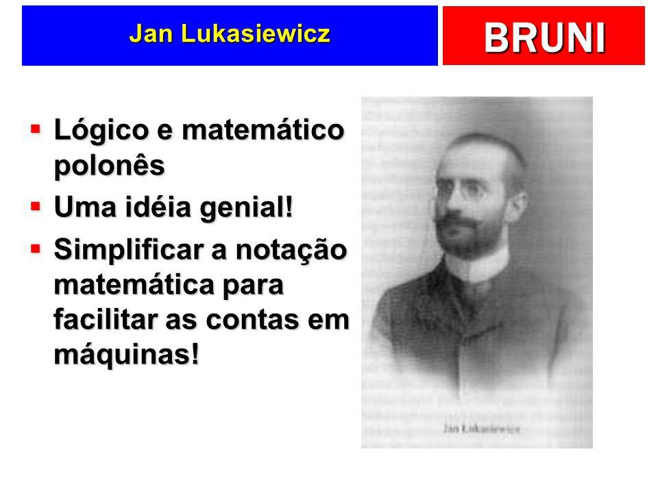 BRUNI Jan Lukasiewicz Lógico e matemático polonês Lógico e matemático polonês Uma idéia genial! Uma idéia genial! Simplificar a notação matemática par