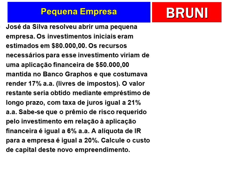 BRUNI Pequena Empresa José da Silva resolveu abrir uma pequena empresa. Os investimentos iniciais eram estimados em $80.000,00. Os recursos necessário