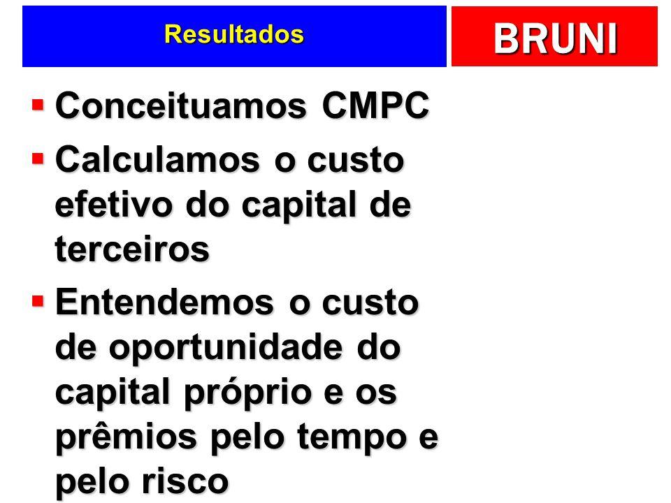 BRUNI Resultados Conceituamos CMPC Conceituamos CMPC Calculamos o custo efetivo do capital de terceiros Calculamos o custo efetivo do capital de terce