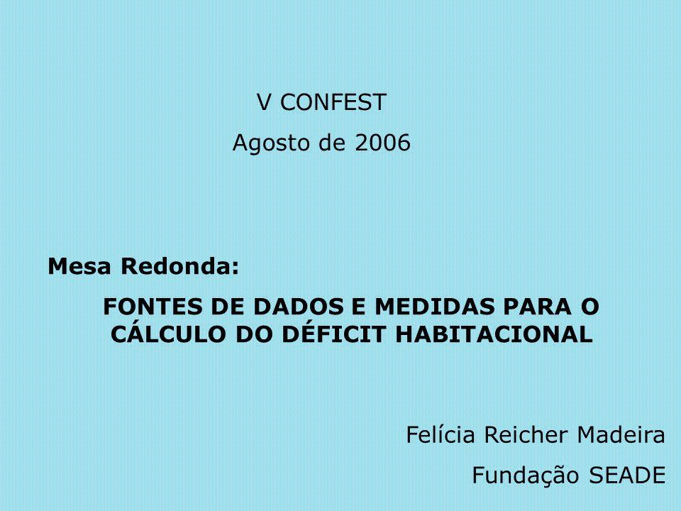 Mesa Redonda: FONTES DE DADOS E MEDIDAS PARA O CÁLCULO DO DÉFICIT HABITACIONAL V CONFEST Agosto de 2006 Felícia Reicher Madeira Fundação SEADE