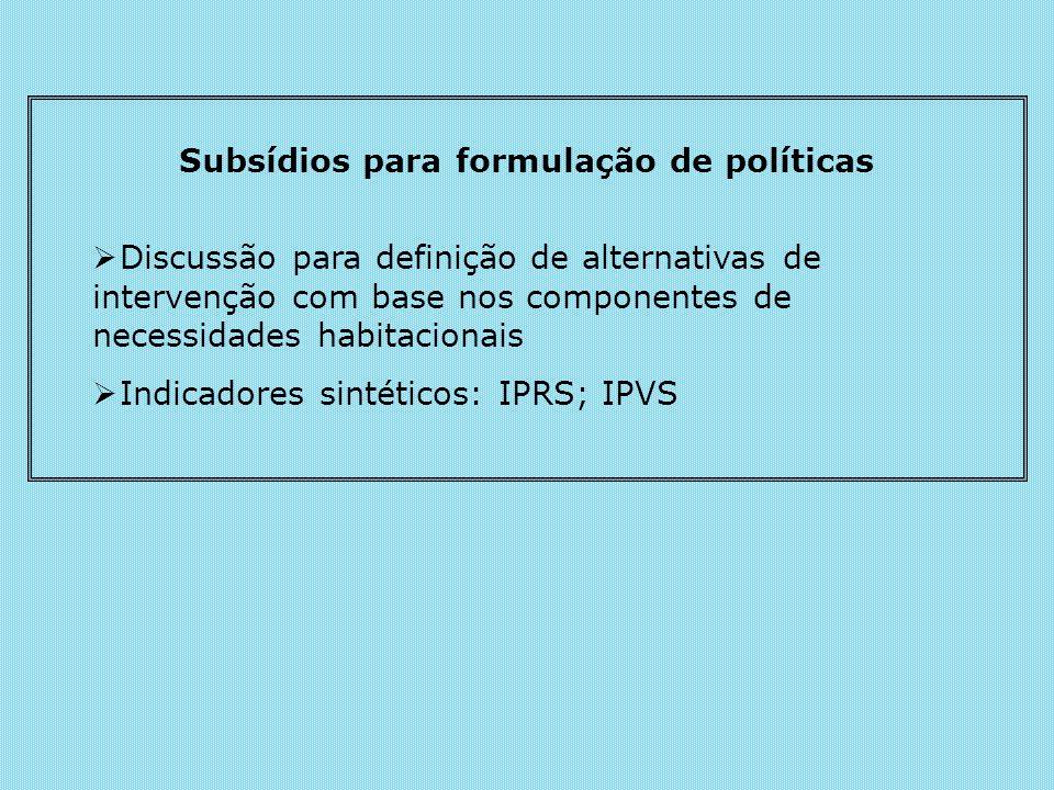 Subsídios para formulação de políticas Discussão para definição de alternativas de intervenção com base nos componentes de necessidades habitacionais