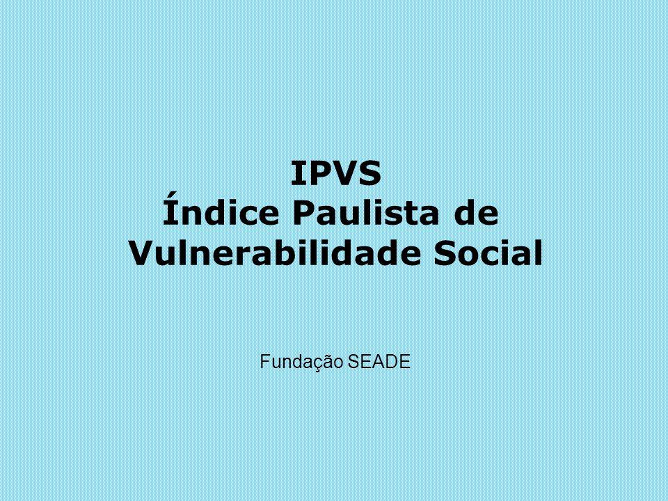 IPVS Índice Paulista de Vulnerabilidade Social Fundação SEADE