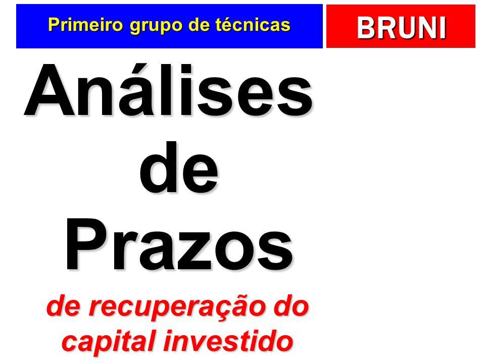 BRUNI Primeiro grupo de técnicas Análises de Prazos de recuperação do capital investido