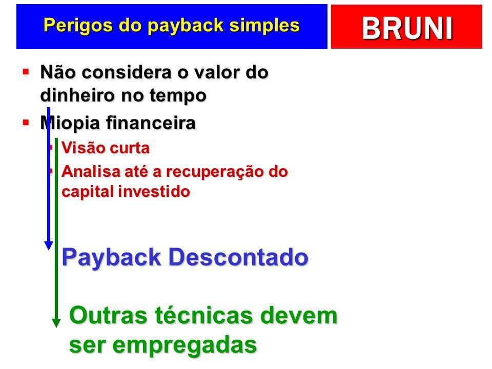 BRUNI Perigos do payback simples Não considera o valor do dinheiro no tempo Não considera o valor do dinheiro no tempo Miopia financeira Miopia financ
