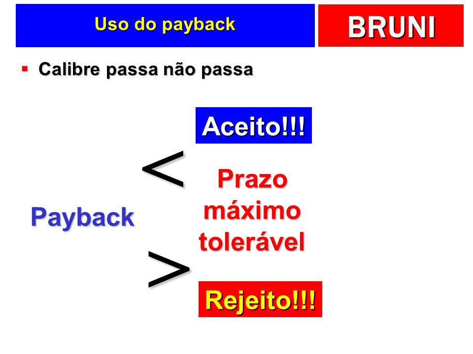 BRUNI Uso do payback Calibre passa não passa Calibre passa não passa Payback Prazo máximo tolerável < > Aceito!!! Rejeito!!!