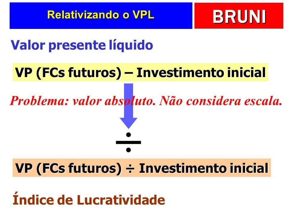 BRUNI Relativizando o VPL VP (FCs futuros) – Investimento inicial Valor presente líquido Problema: valor absoluto. Não considera escala. ÷ VP (FCs fut
